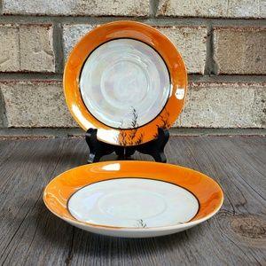 Vintage Peach Lustre Saucers (2) - AS-IS